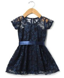 Tia'S Closet Net Fabric Half Sleeve Frock - Navy Blue