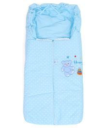 Montaly Baby Dotted Sleeping Bag Bear Embroidery - Sky Blue