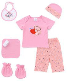 Cloth Gift Set Bear Embroidery 6 Pieces - Pink