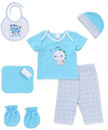 Cloth Gift Set Dino Embroidery 6 Pieces - Blue