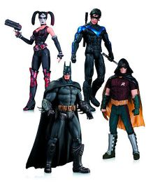 Batman Arkham City AF Harley Batman Nightwing Robin Action Figures Pack Of 4 Multicolor - Height 15 & 17 cm