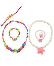 Angel Glitter Rakhi & Pearl Necklace Set Of 2 - Multi Color