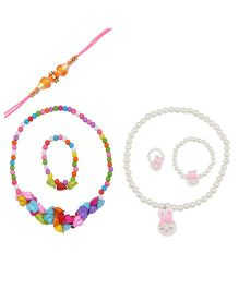 Angel Glitter Rakhi & Pearl Necklace Set Pack Of 2 - Multi Color