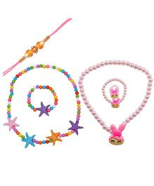 Angel Glitter Rakhi & Starfish & Pearl Necklace Set - Multi Color