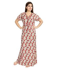 Eazy Half Sleeves Maternity Nursing Nighty Paisley Print - Red Beige
