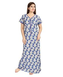Eazy Half Sleeves Maternity Nursing Nighty Paisley Print - Blue Beige