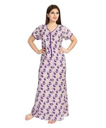 Eazy Half Sleeves Maternity Nursing Nighty Paisley Print - Purple Beige