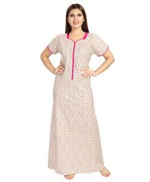 Eazy Half Sleeves Maternity Nursing Nighty Floral Print - Pink Off White