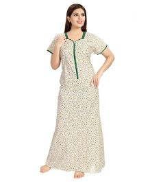 Eazy Half Sleeves Maternity Nursing Nighty Floral Print - Green Off White