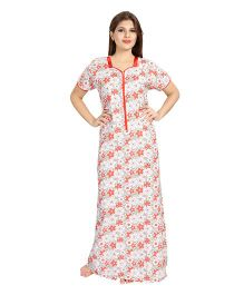 Eazy Half Sleeves Maternity Nursing Nighty Floral Print - Red White