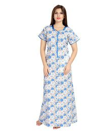 Eazy Half Sleeves Maternity Nursing Nighty Floral Print - Blue White