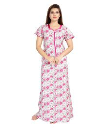 Eazy Half Sleeves Maternity Nursing Nighty Floral Print - Pink White