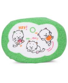 Baby Bath Sponge Kitty Print - Green