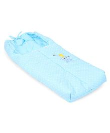 Bear And Bird Embroidery Baby Sleeping Bag - Blue