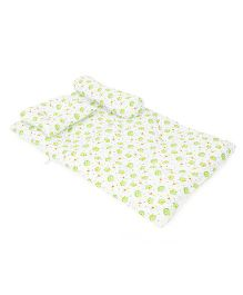 Baby Bed Set With Pillow And Bolster Fish Print - Green