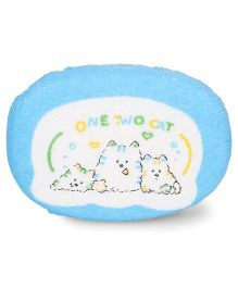 Baby Bath Sponge Kitty Print - Blue