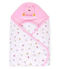 Baby Hooded Wrapper Teddy Bear Face Embroidery - White Pink
