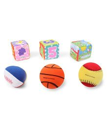 Baby Soft Ball & Cubes Pack Of 3 Fruits Print - Multi Color