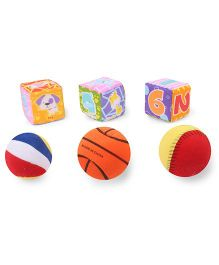 Baby Soft Ball & Cubes Pack Of 3 Puppy Print - Multi Color