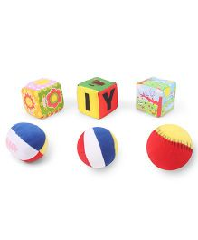 Baby Soft Ball & Cubes Pack Of 3 Smiley Sun Print - Multi Color