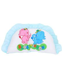 Baby Pillow Semicircle Shape Elephant Print - White Blue Pink