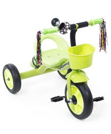 Tricycle With Stylish Front Basket And Bell - Green