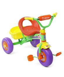 Baby Tricycle With Rear Basket - Green Orange