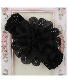 Pikaboo Crochet Cutwork Floral Headband - Black