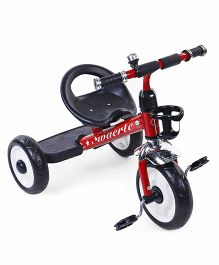 Baby Tricycle With Stylish Front Basket - Red Black