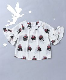 Soul Fairy Elephant Print Top With Ruffled Sleeves - Off White