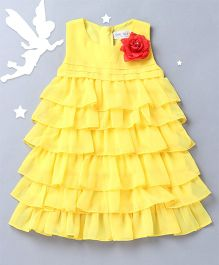 Soul Fairy Trendy Girls Ruffled Dress - Yellow