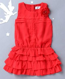 Soul Fairy Trendy Girls Blouson Dress With Pintuck - Coral