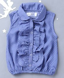 Soul Fairy Sleeveless Ruffle Top With Dots Print - Blue