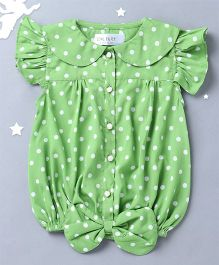 Soul Fairy Flutter Sleeves Top With Tie Up At Waist - Green