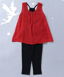 Soul Fairy Sleeveless Top With Knit Racer Back Inner And Leggings - Red & Black