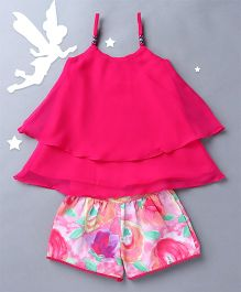 Soul Fairy Singlet Top With Printed Shorts - Fuchsia