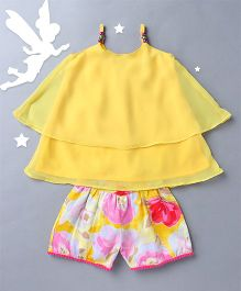 Soul Fairy Singlet Top With Printed Shorts - Yellow