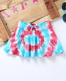 Eimoie Inverted Pleat Design Tie & Dye Skirt - Blue & Pink