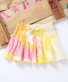 Eimoie Inverted Pleat Design Tie & Dye Skirt - Yellow & Pink