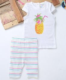 Eimoie Pineapple Print Tee With Cap Sleeves & Leggings - White