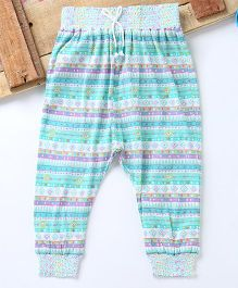 Eimoie Girls Printed Harem Pant - Sea Green