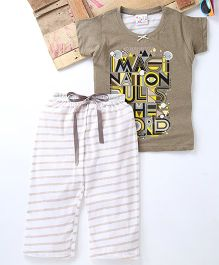 Eimoie Imagination Rules The World Printed Top & Striped Pant Set - Brown