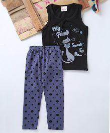 Eimoie Cat Printed Top With Dotted Pant Set - Black