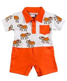 Chic Bambino Elephant Design Roy Romper - Neon Orange & White