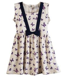 Chic Bambino Butterfly Design Marina Dress - Biege & Navy
