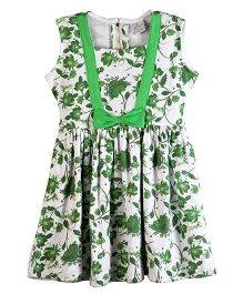 Chic Bambino Indian Flower Design Marina Dress - Green & White