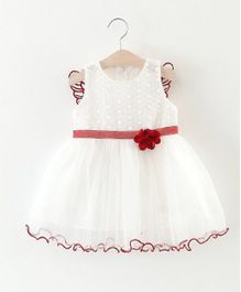 Superfie Flower Applique Dress With Wing Design At Back - Red & White