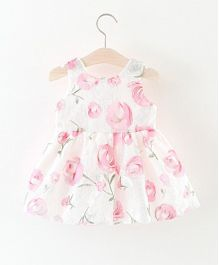 Pre Order - Superfie Rose Printed Beautiful Dress With Big Bow - Pink