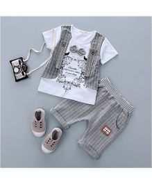 Pre Order - Dells World Plaid Design Tee With Mock Jacket & Pant Set - White & Grey