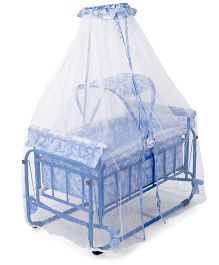 Baby Cradle Cum Bassinet With Mosquito Net Alphabet Print - Blue White